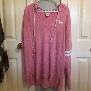 PINK oversized lightweight hooded sweatshirt Sz L